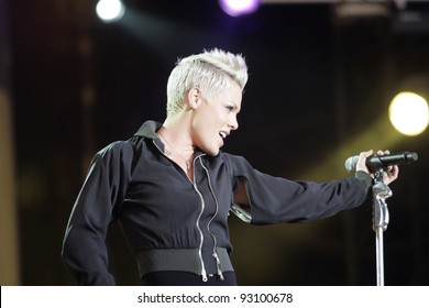 BUDAPEST - AUG 10: Alicia Moore, aka the singer Pink, performs at the annual Sziget Festival in Budapest, Hungary, on Friday, August 10, 2007.