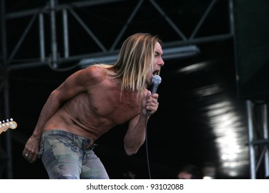 BUDAPEST - AUG 16: Iggy Pop and the Stooges perform in concert at the Sziget music festival in Budapest, Hungary, on Tuesday, August 16, 2006.