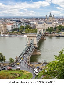 Budapest - a bridge over the Danube. Landscape of the old city. Tourist part of Budapest.