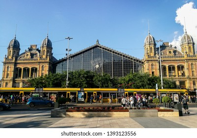 Budapest, Budapest/Hungary; 05/26/2018: a front view of the Budapest-Nyugati Railway Terminal, Hungary in a sunny day