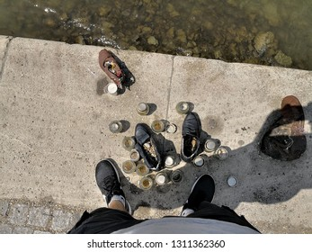 Budapest, Budapest/Hungary; 05/27/2018: Jewish memorial of the shoes of the men persecuted and thrown into the Danube river, Budapest, Hungary