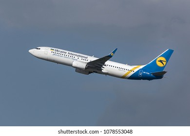 budapest, budapest/hungary - 24 04 18: ukraine international airways airplane starting at budapest airport hungary