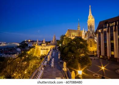 Budapest, capital of Hungary, night view of Matthias Church
