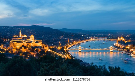 Budapest, capital of Hungary, Parliament, Buda Castle, Danube and Chain Bridge panoramic photo