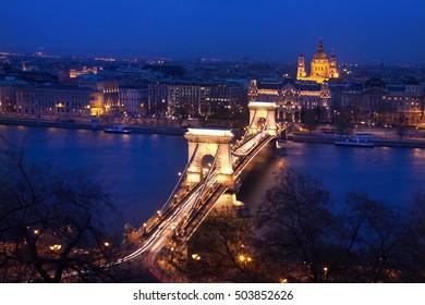 Budapest, capital of Hungary, time blue night shot of Chain Bridge