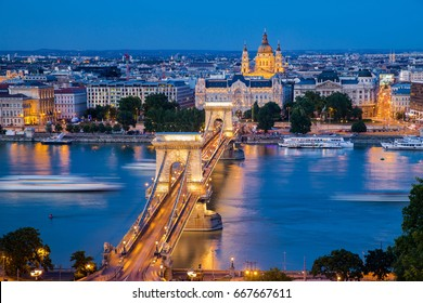 Budapest, capital of Hungary, time blue night shot of Chain Bridge Night View from Citadel
