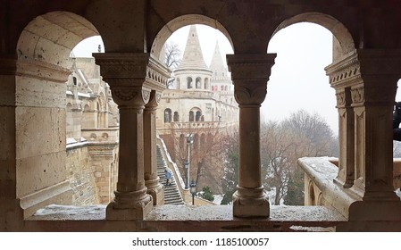 budapest castle fishermans bastion and square architect Frigyes Schulek in winter