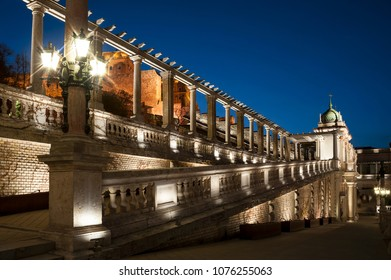 Budapest Castle Garden Bazaar building at evening on Danube river bank