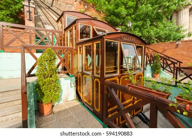 Budapest Castle Hill Funicular. Hungary. Vintage carriages are at the last stop