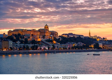 Budapest Castle at Sunset from danube river, Hungary