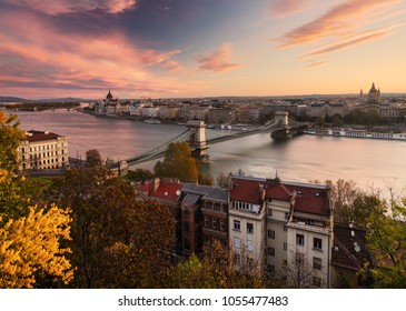 Budapest: Chain Bridge and Hungarian Parliament building at down