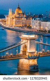 Budapest, Chain Bridge over Danube River and Hungarian Parliament Building