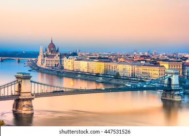 Budapest, Chain Bridge and Parliament. Hungary
