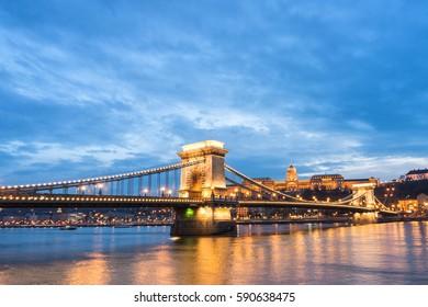 budapest chain bridge at sunset