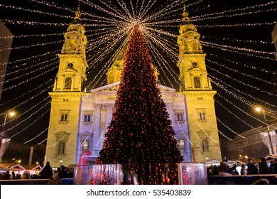 Budapest Christmas Market at Saint Stephen Basilica square