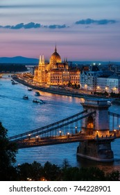 Budapest city at dusk in Hungary, Chain Bridge and Hungarian Parliament Building at Danube river