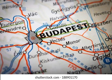 Budapest city on a road map
