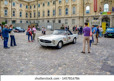 Budapest Classic Grand Prix or BPCGP near Royal Castle in Budapest, capital of Hungary June, 2018. Mercedes-Benz Magyarorszag. auto show retro cars and roadsters