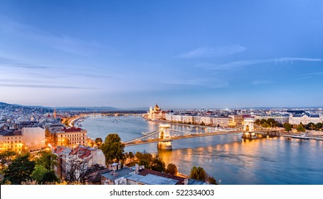Budapest dusk scene of downtown with Danube river delta. Budapest is the capital of European country Hungary and very popular travel destination for romantic trip.