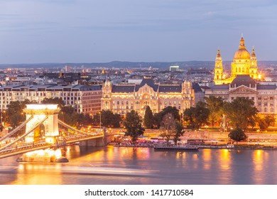 Budapest at early evening with city light