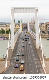 Budapest Elizabeth bridge. Bridge across the Danube river. Cars passing over the bridge in Budapest.