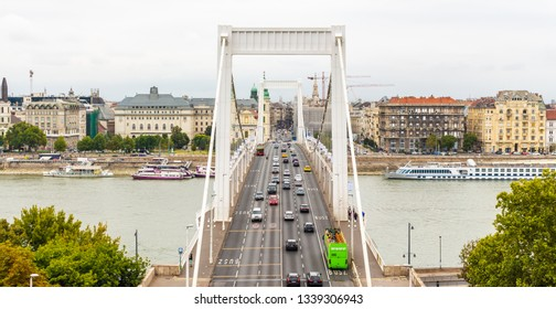 Budapest Elizabeth bridge and panorama of the city. Bridge across the Danube river. Cars passing over the bridge in Budapest.