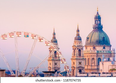 Budapest Eye and Basilica during sunset hour