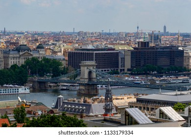 Budapest Hung. May 28. 2018:  City view from the Castle District. Many buildings, artworks are listed by UNESCO as a World Heritage site, and was first completed in 1265. Panoramic Image.