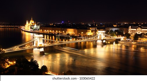 Budapest - Hungarian parliament and chain bridge.