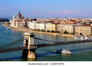 Budapest Hungarian Parliament city bridge Hungary Danube River