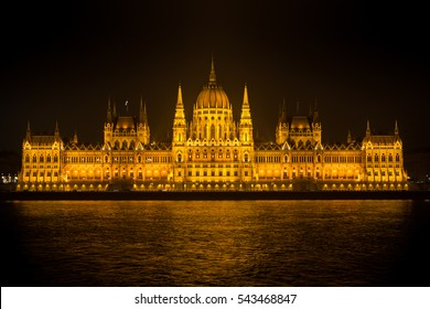 Budapest Hungarian Parliament in a winter night