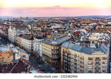 Budapest, Hungary -01.02.19: Panoramic skyline view of Budapest from the top of Saint Stephens Basilica Church. Budapest, Hungary.