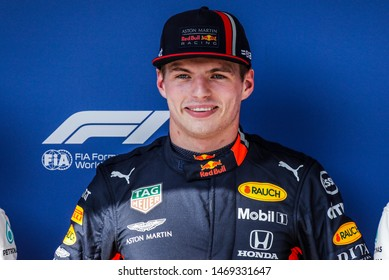 Budapest, Hungary. 01-04/08/2019. Grand Prix of Hungary. F1 World Championship 2019. Max Verstappen, Red Bull, gets the pole position.