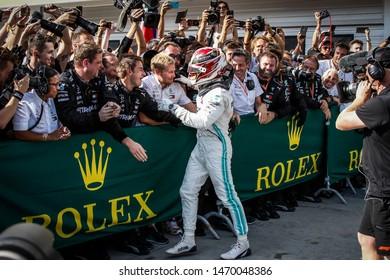 Budapest, Hungary. 01-04/08/2019. Grand Prix of Hungary. F1 World Championship 2019. Lewis Hamilton, Mercedes, wins the Grand Prix, and celebrates.
