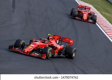 Budapest, Hungary. 01-04/08/2019. Grand Prix of Hungary. F1 World Championship 2019. Charles Leclerc, Ferrari, leading the leading the team-mate Sebastian Vettel.