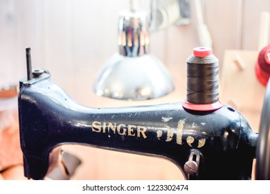 Budapest, Hungary - 03.01.2018 - Old Singer Sewing Machine