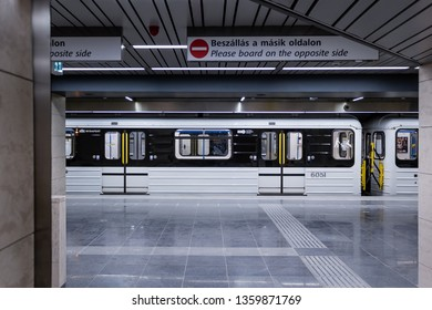 Budapest / Hungary - 03.30.2019.: The reconstructed train and station of M3 metroline in Budapest.