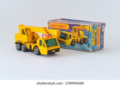 Budapest, Hungary - 05 Nov 2014: Close up shot of Vintage Matchbox Superfast 75 Series - Number 49 Crane Truck from 1976.