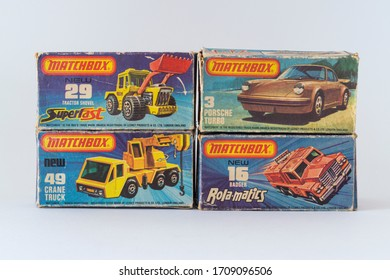 Budapest, Hungary - 05 Nov 2014: Close up shot of Vintage Matchbox Superfast 75 Series Collection.