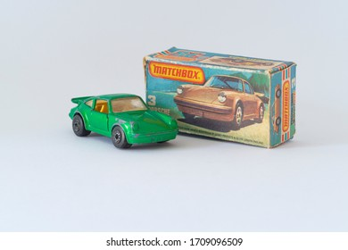 Budapest, Hungary - 05 Nov 2014: Close up shot of Vintage Matchbox Superfast 75 Series - Number 3 Porshe Turbo from 1978.