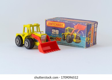 Budapest, Hungary - 05 Nov 2014: Close up shot of Vintage Matchbox Superfast 75 Series - Number 29 Tractor Shovel from 1976.