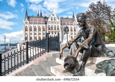 Budapest, Hungary, 05 September 2016 - Sculpture of Attila Jozsef outside the Hungarian Parliament building in Budapest, Hungary