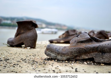 Budapest, Hungary - 07.08.2014. Shoes on the Danube promenade. Tears and sadness on the bank of the river. Holocaust Memorial.