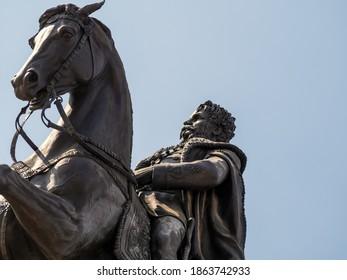 BUDAPEST, HUNGARY - 07.16.2019:   Equestrian statue of Count Gyula Andrassy by Gyorgy Zala