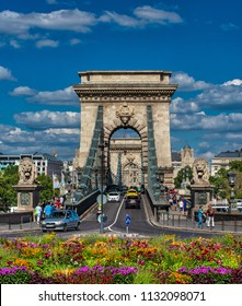 BUDAPEST, HUNGARY - 1 JULY, 2018: View on the Chain Bridge in Budapest, Hungary on 1 July, 2018.