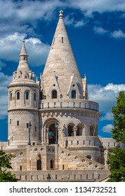 BUDAPEST, HUNGARY - 1 JULY, 2018: View of the fisherman's bastion in summer time, Budapest.