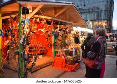 Budapest, Hungary 12.12.2018 Street market at Vorosmarty square before Christmas