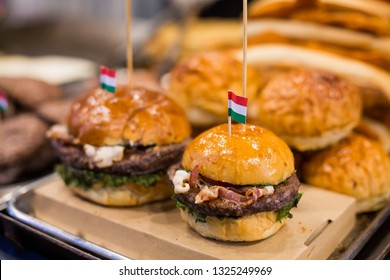 BUDAPEST, HUNGARY- 12/18/2018 Sale of a traditional fast food in Hungarian on Christmas. Street food