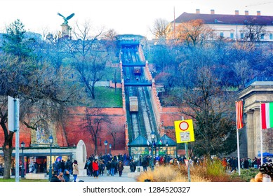 Budapest, Hungary, 12/31/2016, Funicular Shiklo. The Bird Turul. The famous funicular of Budapest is the Buda Siklo the funicular (Sikló) is the oldest of all operating funiculars in the world.