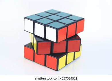 Budapest, Hungary - 13. December, 2014: Rubik's cube on the white background. Rubik's Cube invented by a Hungarian architect Erno Rubik in 1974.